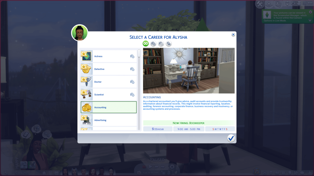 Accounting Career for Sims 4