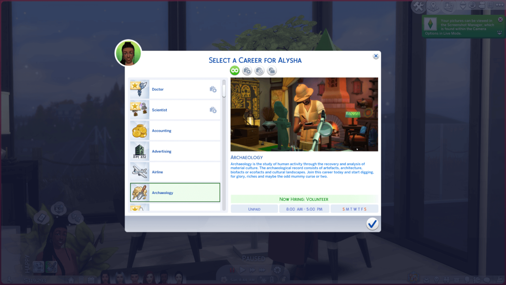 Archaeologist Career for Sims 4