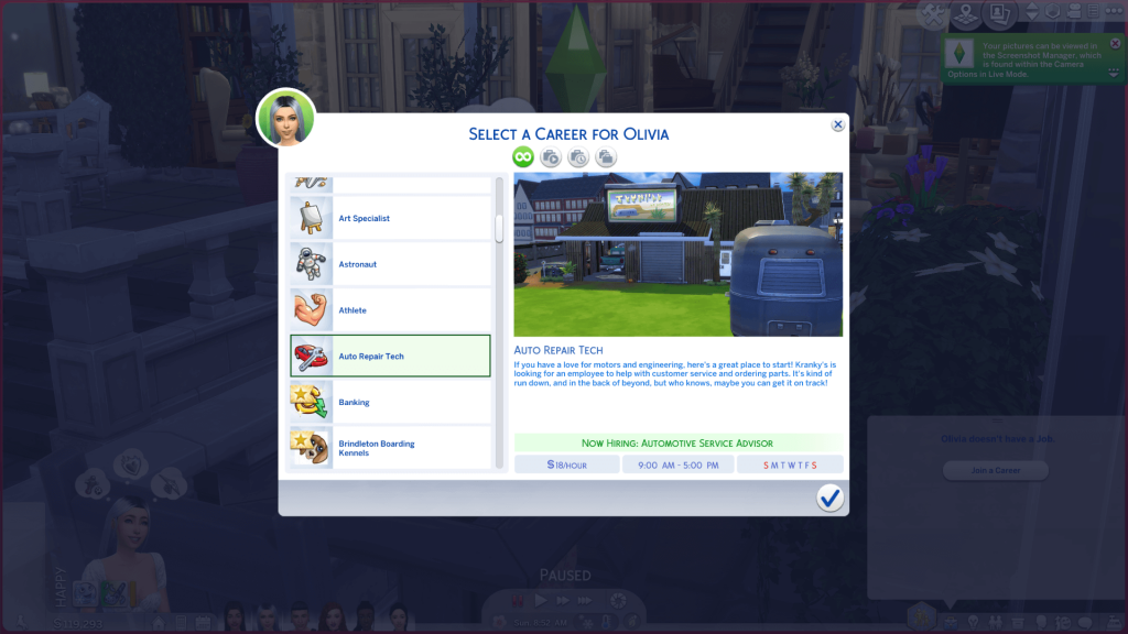 Auto Shop Career for Sims 4