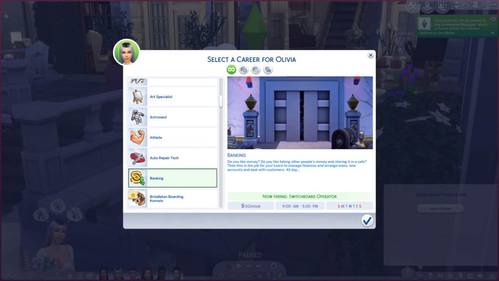 Banker Career for Sims 4