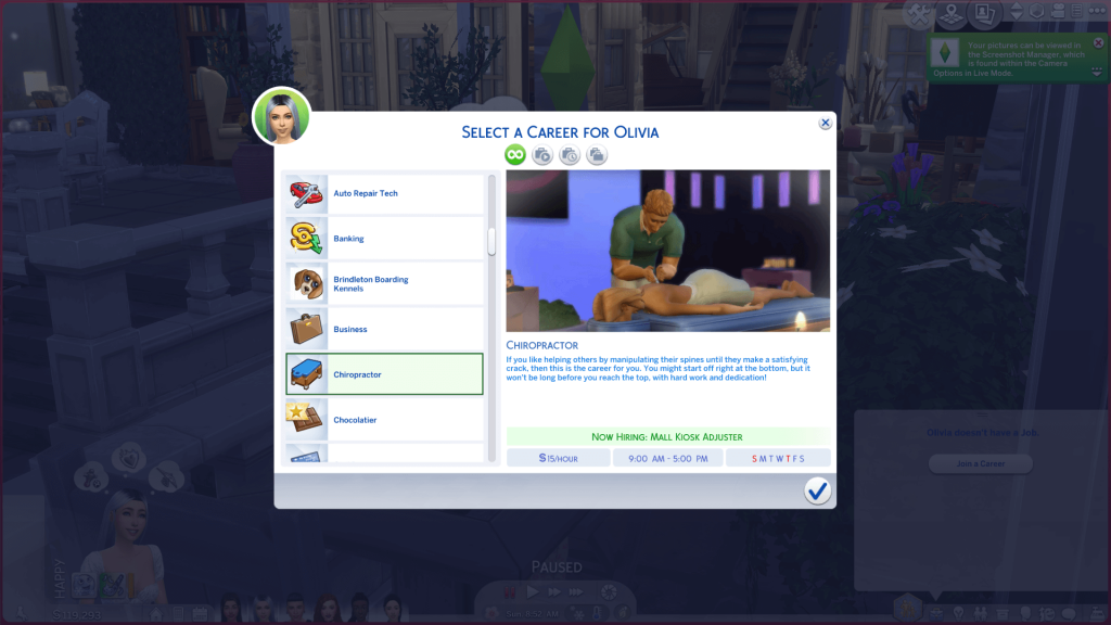Chiropractor Career for Sims 4
