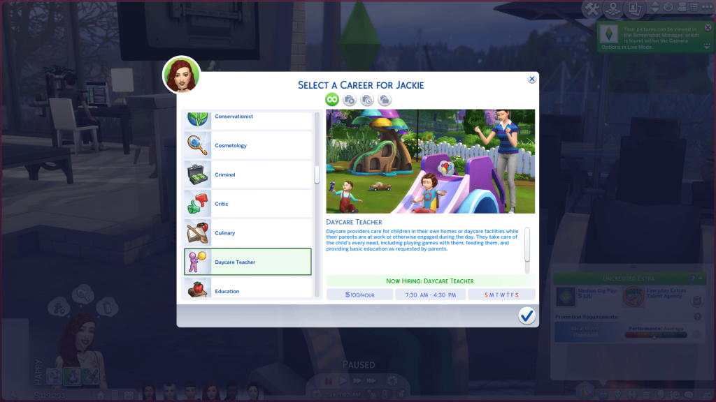 Interactive Daycare Career for Sims 4