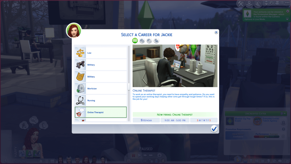 Work at Home Therapist Career for Sims 4