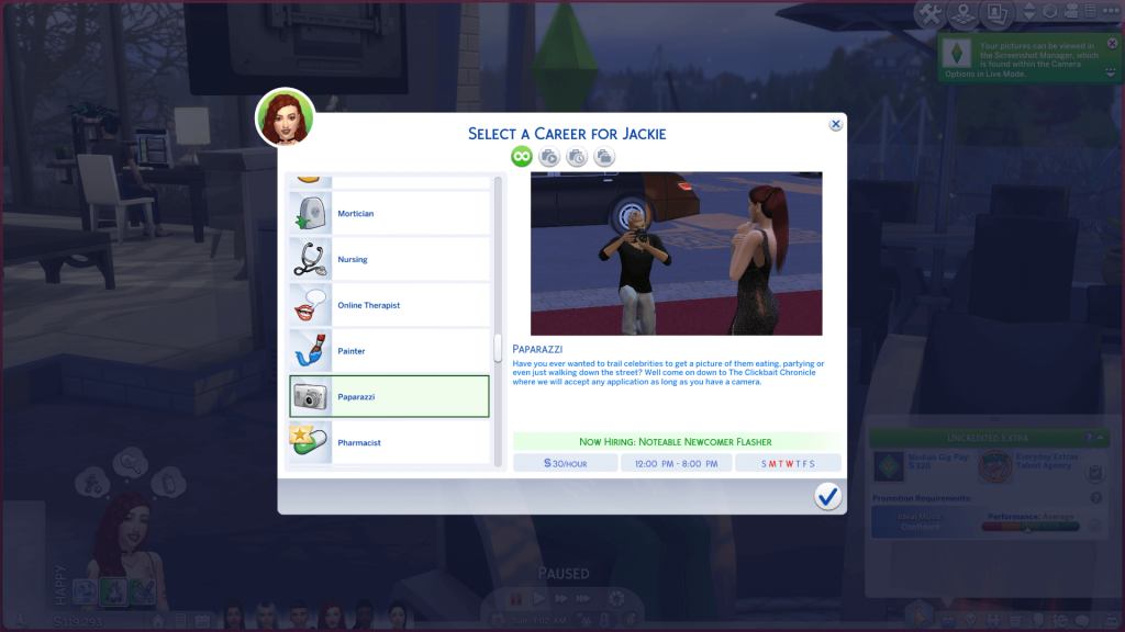 Celebrity Paparazzi Career for Sims 4