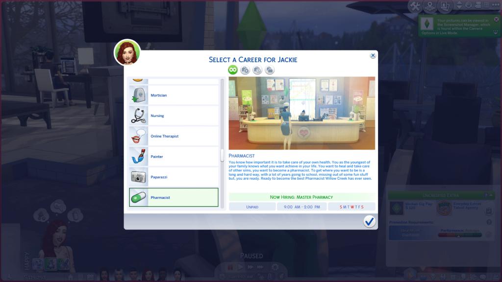 Pharmacy Career for Sims 4