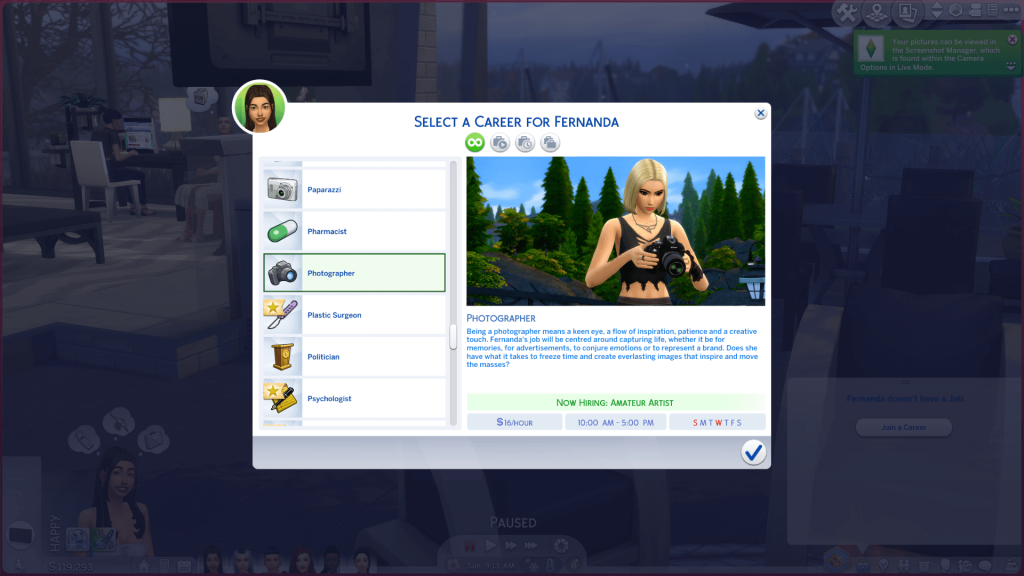 Photography Career for Sims 4