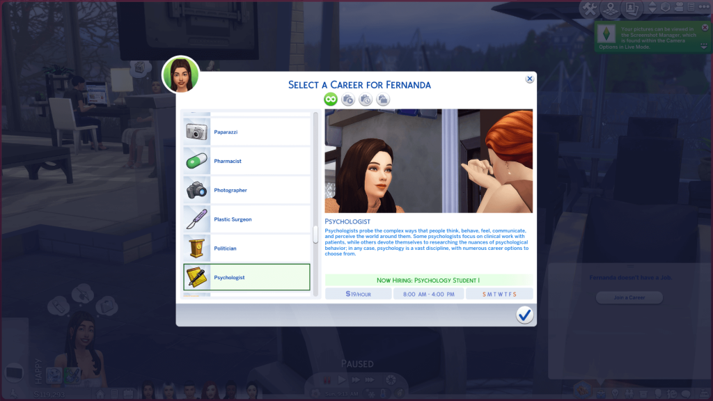 Psychology Career for Sims 4