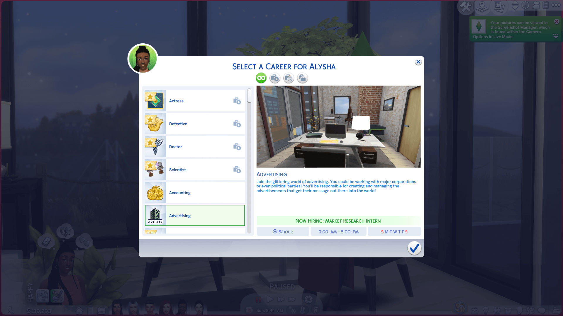 Advertising Career for The Sims 4