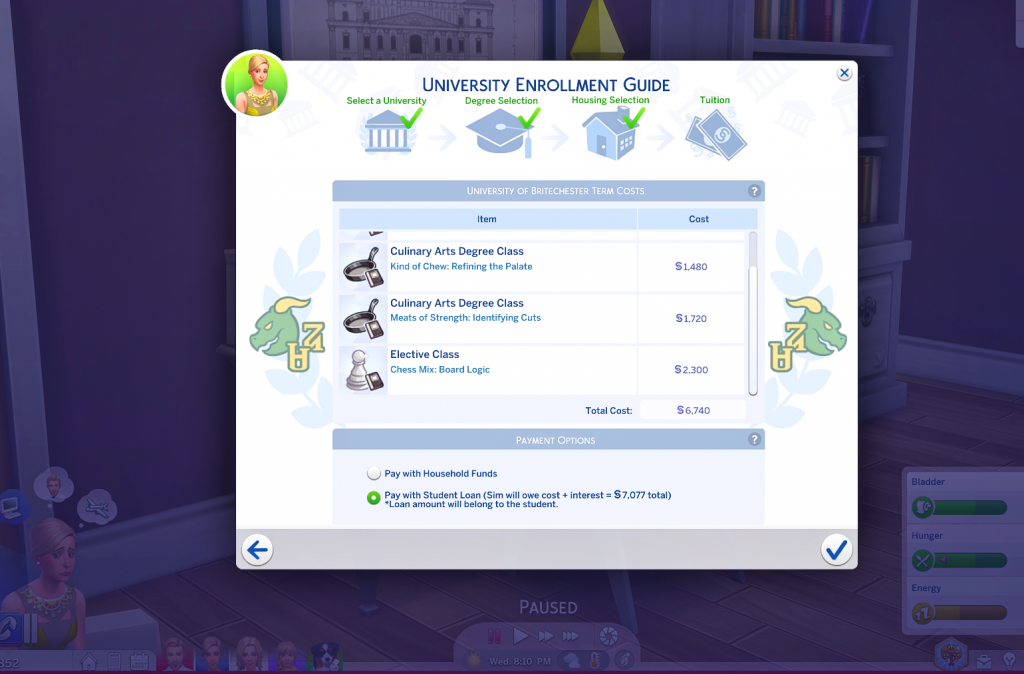 university cost more mod for sims 4