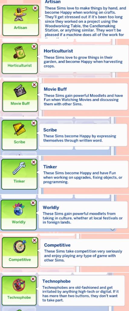 sims 4 cc hobby traits