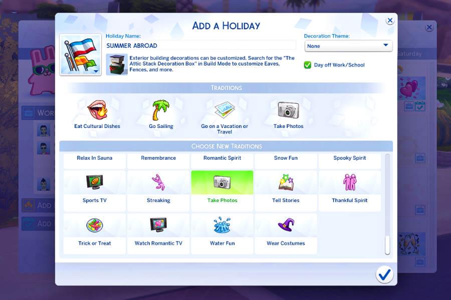 sims 4 holiday list
