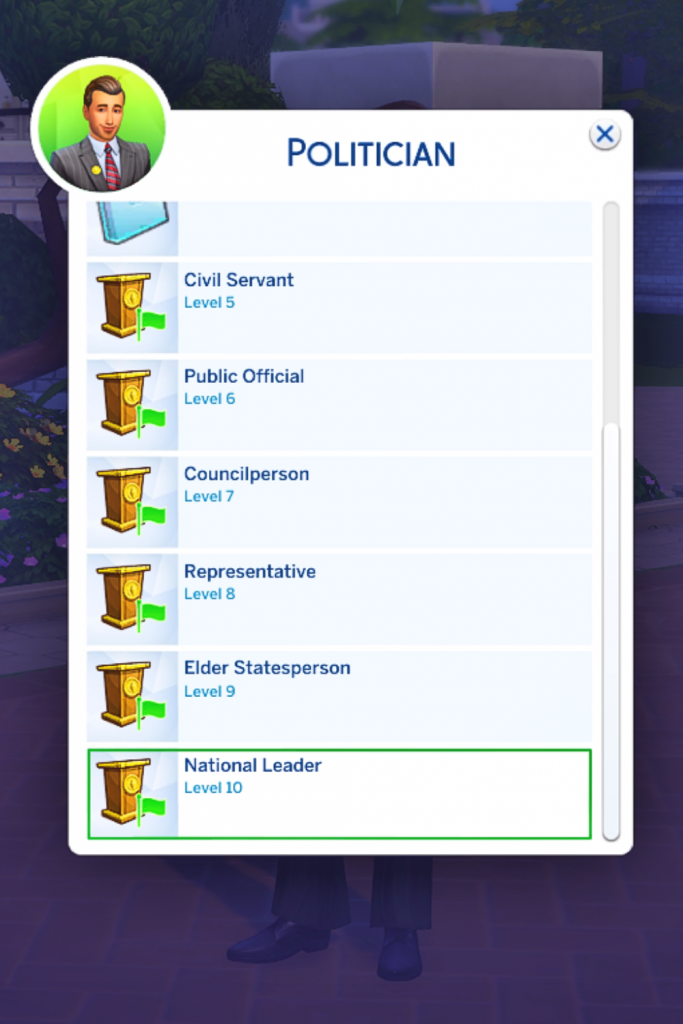 sims 4 cheat promote career